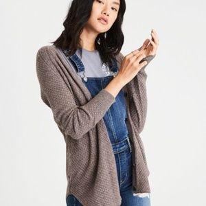 AE Waffle Knit Shirttail Cardigan w/ Buttons